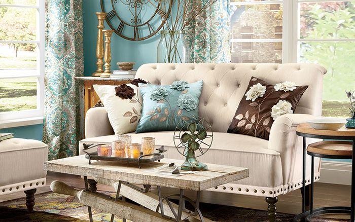 Vintage Sala De Estar, Criando Um Olhar Romântico, Travesseiro Decorativo  Com Padrão Floral,