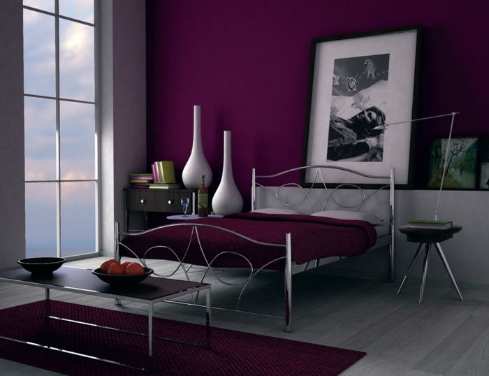 perete de culoare-Berry-modern-dormitor-interesant-Color Design
