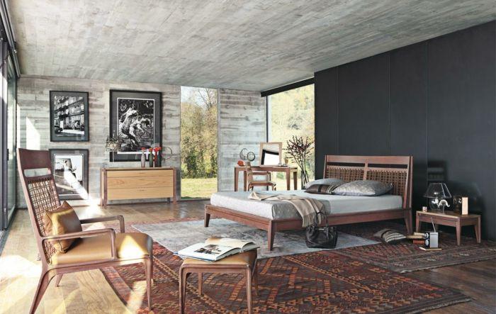 de grijze muurverf in de slaapkamer