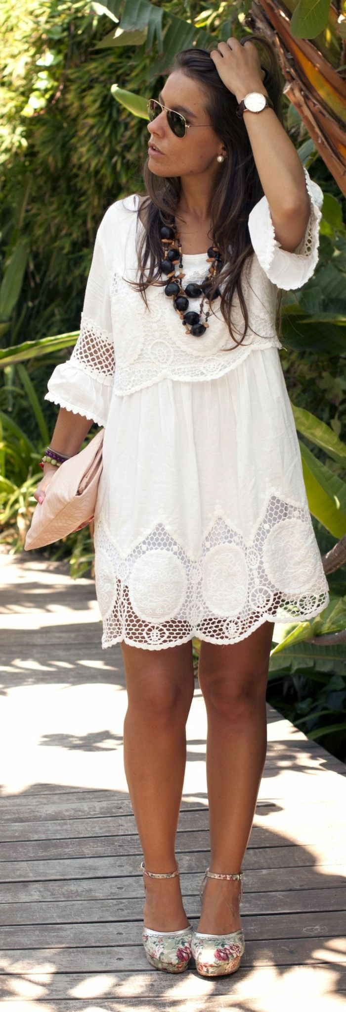 Witte Boho Dress romantisch schoenen Clutch