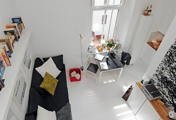 home-for-small-apartment-small-modern-room-in-white - ภาพที่ถ่ายจากด้านบน