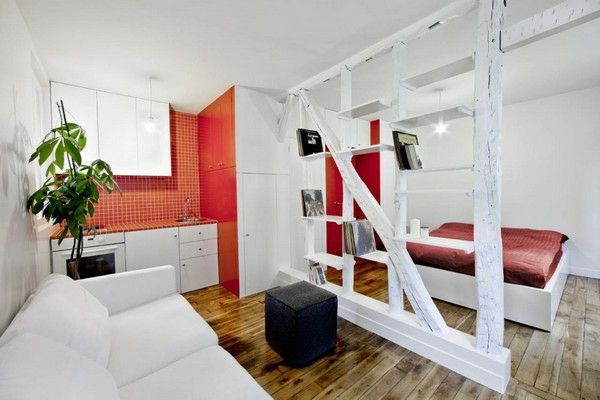 home-for-small-apartment-bedroom-and-living-room- นำมารวมกัน - สีแดงและสีขาว