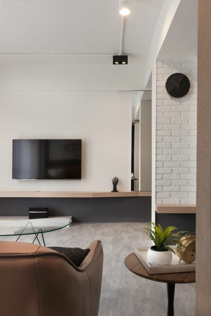 stue beige-moderne-design-tv-on-the-wall