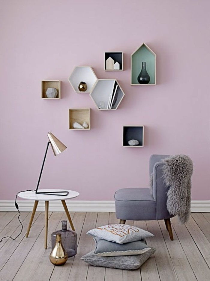 Elegant Quarto Paint Idéias Pink Wall Enfatizar