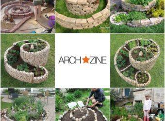 verschiedene-ideen-zum-thema-gartengestaltung-und-tolle-schöne-kräuterspirale-selber-bauen-mit-grünne-pflanzen-und-kleinen-steinen-2